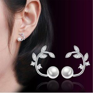 NEW Sterling Silver Diamond Leaf Pearl Earrings